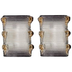 Pair of Barovier & Toso Mid-Century Crystal Textured Murano Glass Sconces, 1950