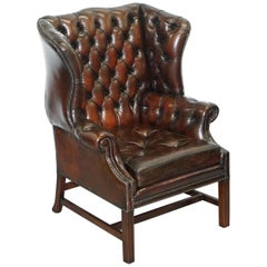 Stunning Cigar Brown Leather Chesterfield Wingback Armchair Chippendale Cushion