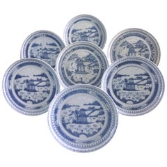 Set of Seven Antique Chinese Canton Porcelain Blue and White Plates
