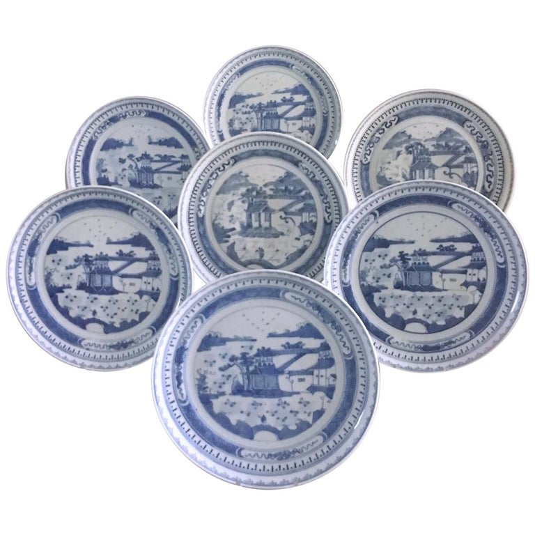 Set of Seven Antique Chinese Canton Porcelain Blue and White Plates For Sale