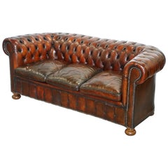 1930s Made in England Hand Dyed Restored Cigar Brown 3-Seat Chesterfield Club