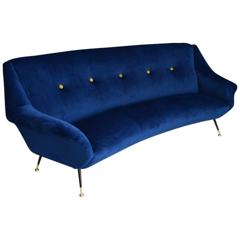 Italian Mid-Century Modern Curved Sofa Reupholstered in Blue Velvet, 1950s