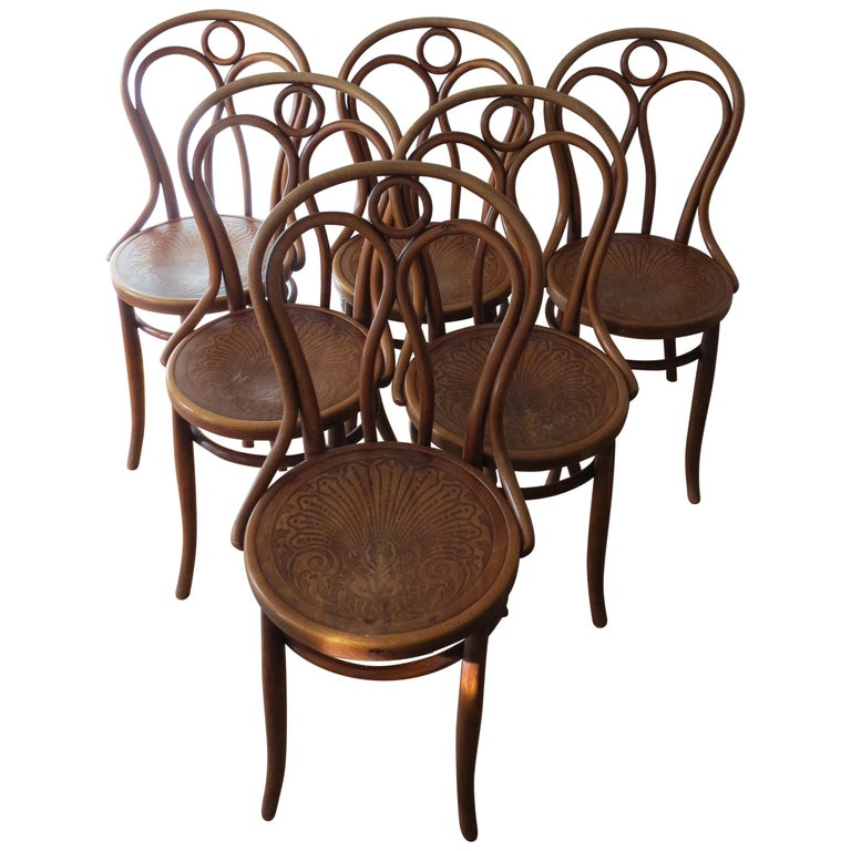 Set of 6 Jacob and Joseph Kohn, Austrian Dining chairs No 36 For Sale
