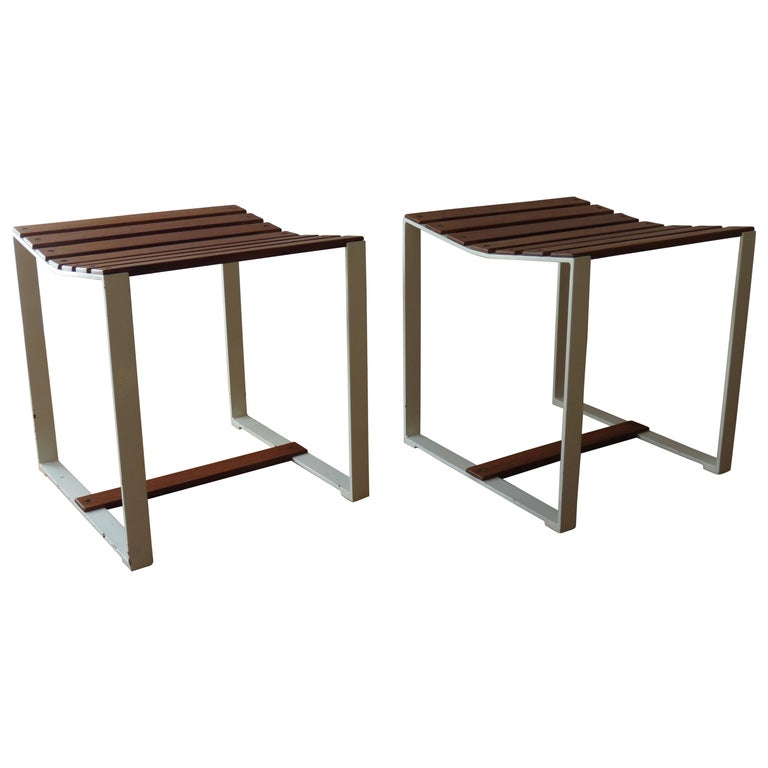 Pair of 1960s Teak and Metal Slatted Stools or Side Tables