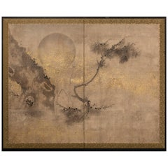 Japanese Two-Panel Screen, Old Pine and Moon