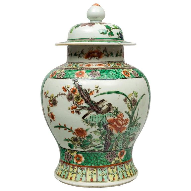 Chinese Famille Verte Balaster Shaped Vase