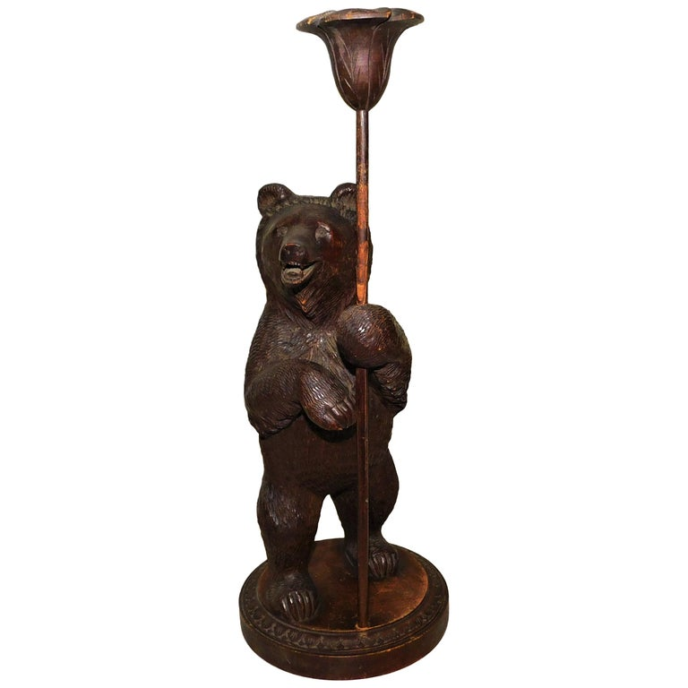Swiss Brienz Black Forest Hand-Carved Wood Candle Holder