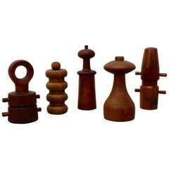 Collection of Five JHQ Dansk Denmark Teak Pepper Mills