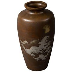 Japanese Bronze Vase with Multi Metal Landscape