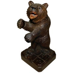 Swiss Brienz Black Forest Hand-Carved Wood Grizzly Bear