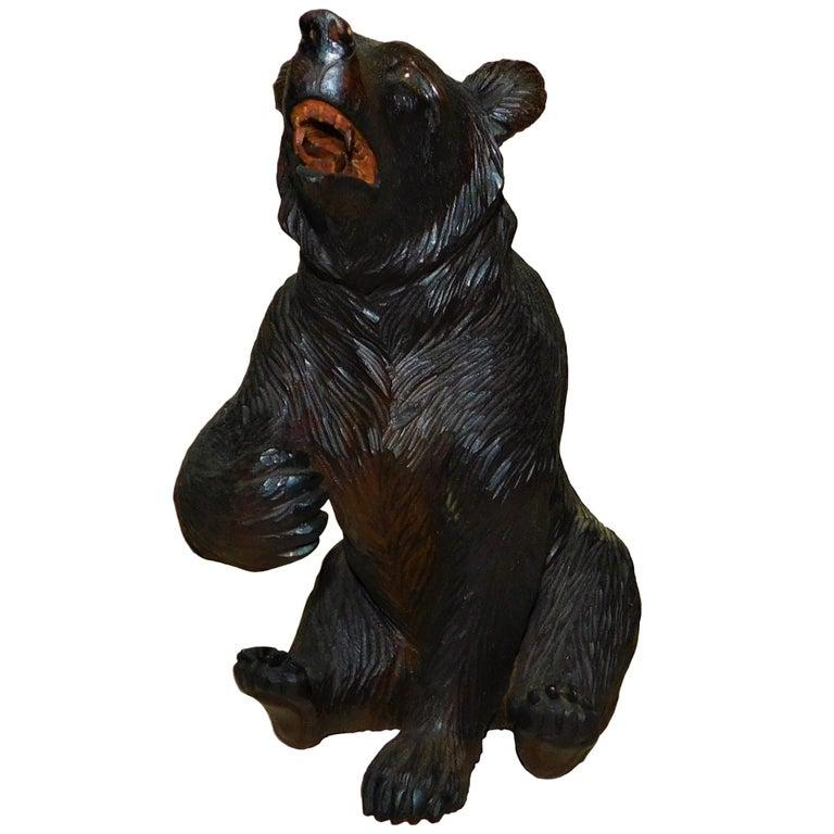 Swiss Brienz Black Forest Hand-Carved Wood Bear
