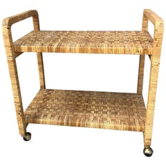 Vintage Rattan Two Shelves Rolling Drinks Cart