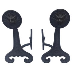 """""""Early Pair of Andirons"""" Signed and Dated, Bradley & Hubbard, 1886, Made in USA"""