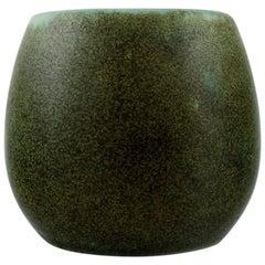Erik Reiff for Saxbo, Stoneware Vase in Modern Design, Glaze in Shades of Green
