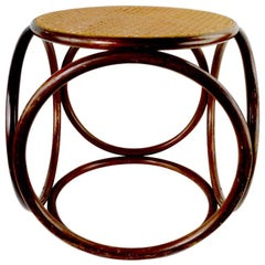 Bentwood Thonet Stool with Caned Seat