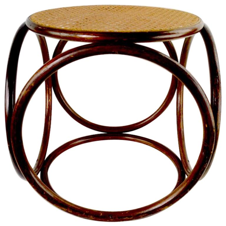 Bentwood Thonet Stool with Caned Seat For Sale
