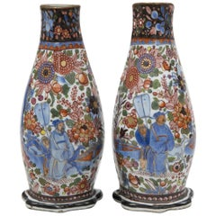 Pair of Chinese Clobbered Wall Pockets, circa 1780