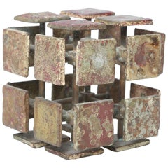 Harry Bertoia Bronze Multi-Plane Cube Sculpture