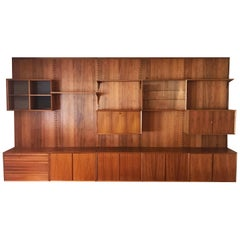 Large Royal Cado Midcentury Danish Modern Wall Unit or Shelving Unit in Walnut