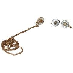 Danish Silver Daisy Ear Clips, Pendant & 14-Carat Chain by Bernhard Hertz
