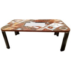 """Lifestyle"" Dining Table with Exotic Natural Inlay and Glass Insert, 1990s"