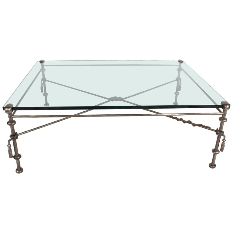 Giacometti Inspired Wrought Iron & Glass Coffee Table For Sale