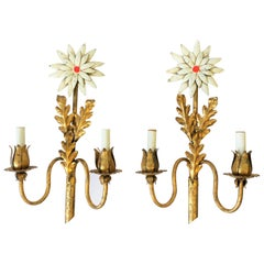 Pair of Midcentury Italian Gold Gilt Tole Metal Flower Sconces