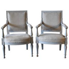 Pair of 18th Century French Directoire Bergère Chairs