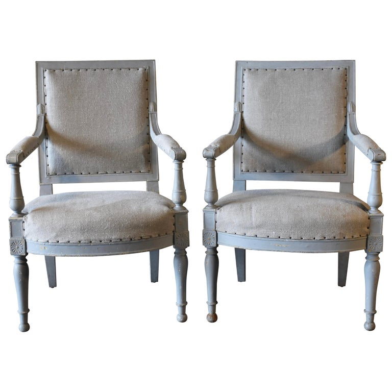 Pair of 18th Century French Directoire Bergère Chairs For Sale