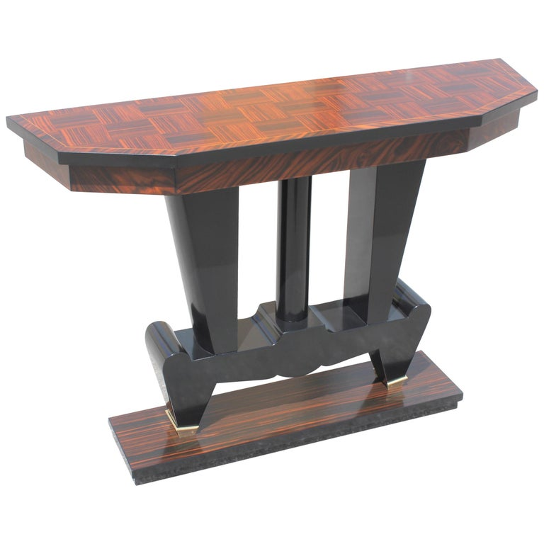 Unique French Art Deco Exotic Macassar Ebony Console Tables, circa 1940s