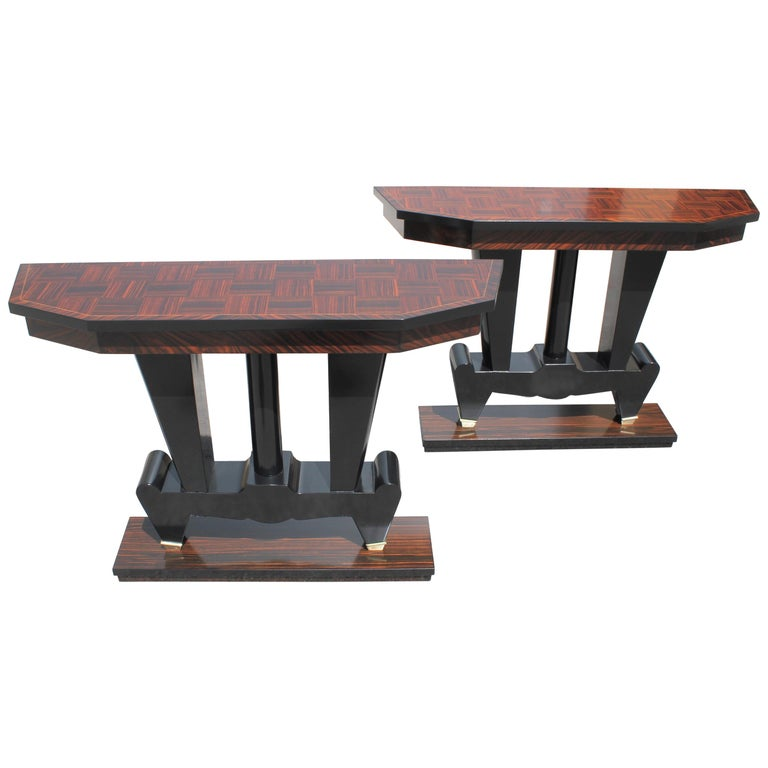 Spectacular Pair of French Art Deco Macassar Ebony Console Tables, circa 1940s For Sale