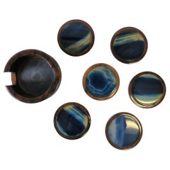 Brazilian Blue and White Agate Drink or Cocktail Coasters
