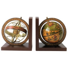 Midcentury Pair of Italian World Globe Bookends