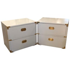 Vintage Pair of Lane Campaign Nightstands Chests Powder Blue Lacquered Brass