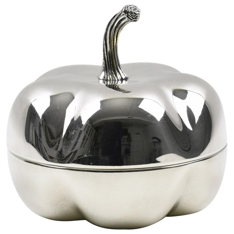 Christian Dior France Silver Plate Decorative Box Pumpkin Design