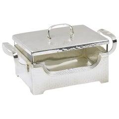 Jugendstil Silver Plate Cookie Box with Original Crystal Insert