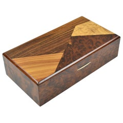 French Art Deco Long Modernist Burl Wood Box with Wooden Marquetry