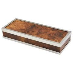 Maison Lancel Paris Chrome and Burl Wood Extra Long Decorative Box