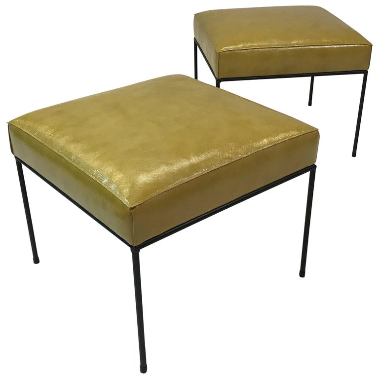 Pair of Leather and Wrought Iron Paul McCobb Square Ottomans