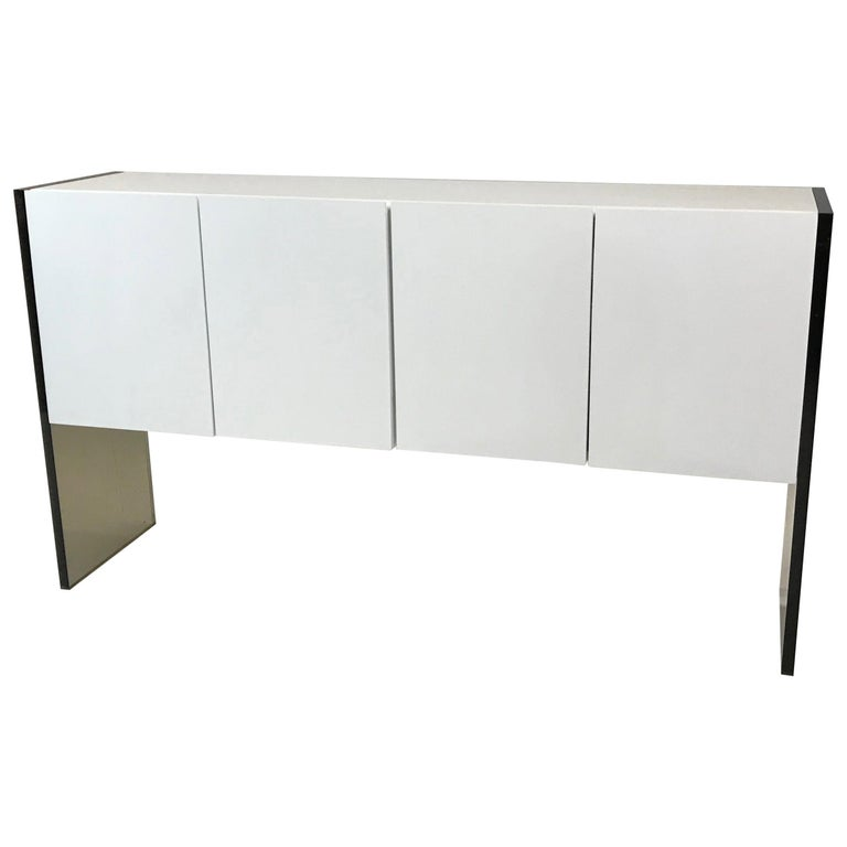 Milo Baughman for Thayer Coggin Lacquer and Lucite Sideboard Credenza