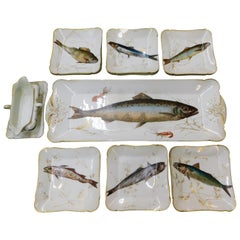 19th Century C.H. Field Haviland Limoges France 15 Piece Fish Serving Set