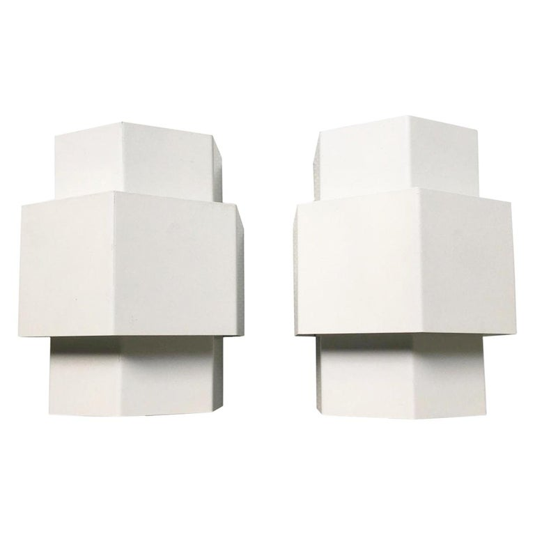 Anvia, Pair of Two White Metal Sconces, Wall Lamps, circa 1960s