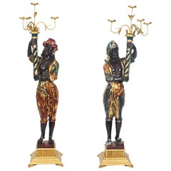 Antique Pair of Carved Wood Venetian Blackamoor Candelabras, 19th Century