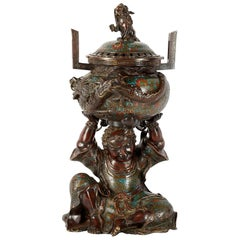 19th Century, Chinese Bronze Figure Holding an Incense Burner