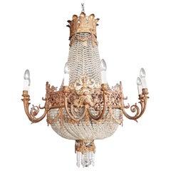 1890 Montgolfièr Antique Empire Brass Chandelier Crystal Lamp Lustre Art Nouveau