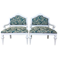 Pair of Art Noveau Lounge Chairs Painted in White and Reupholstered