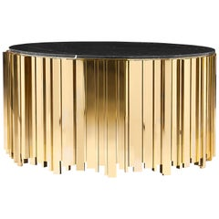 Empire Round Coffee Table with Brass Base and Nero Marquina Marble Top