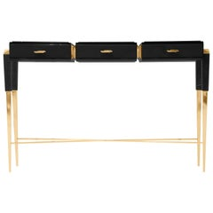Luxxu Spear Console with Brass Base, Black Marble Top and Leather Detail