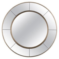 Crown Round Mirror in Smoked Black Mirror with Gold-Plated Brass Detail