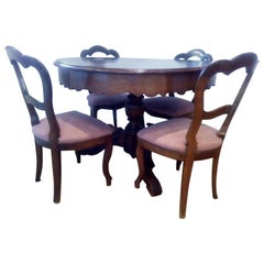 19th Century Walnut Table and Chairs Louis Philippe dining room set